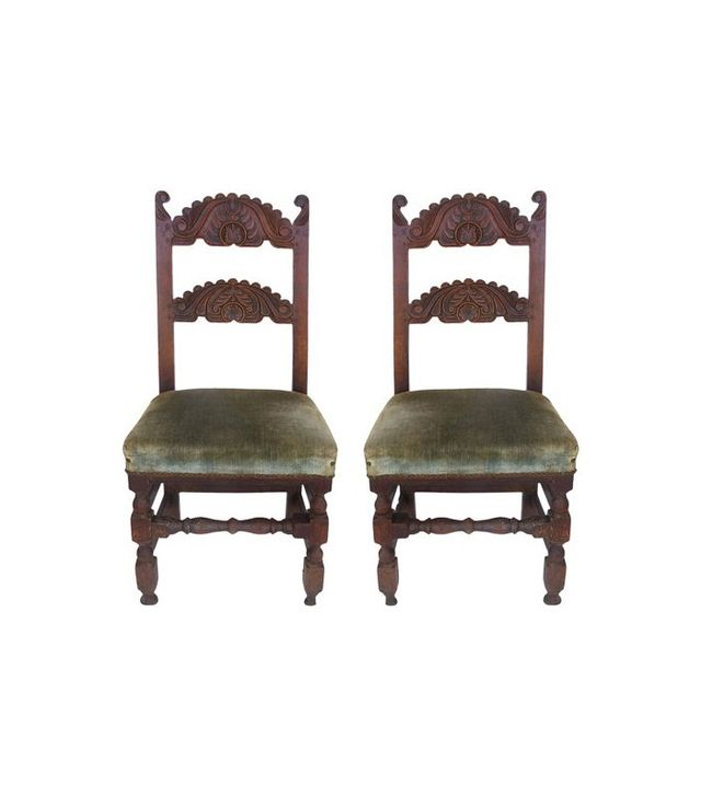 Studio Modern Pair of Antique Carved English Oak Chairs