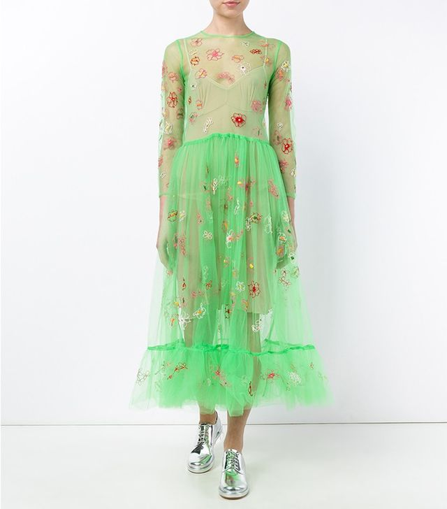 Molly Goddard Floral Embroidered Tulle Dress