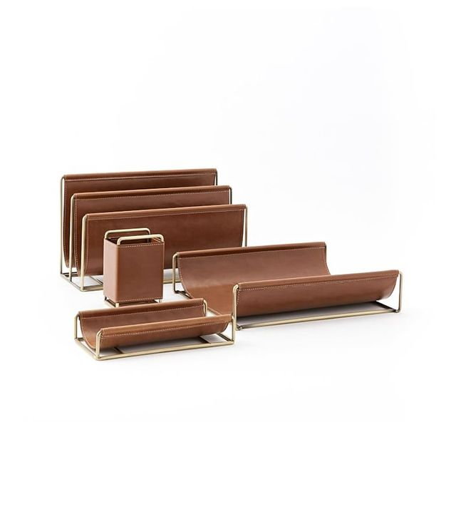 West Elm Faux Leather + Brass Office Accessories