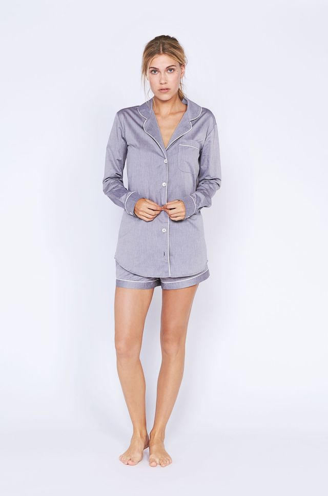 Desmond & Dempsey Short Gray Luxury Cotton Pajama Set