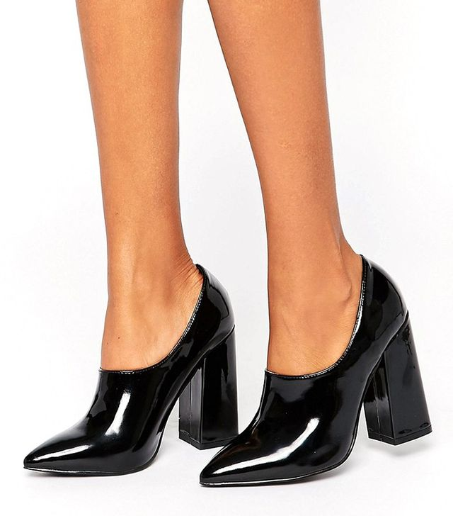 Daisy Street Black Patent High Vamp Pointed Toe Heeled Shoes