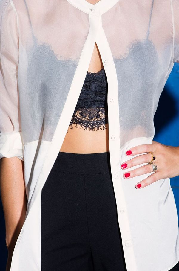 Style Notes: In case you were wondering how to show off your cute lace bra in public.