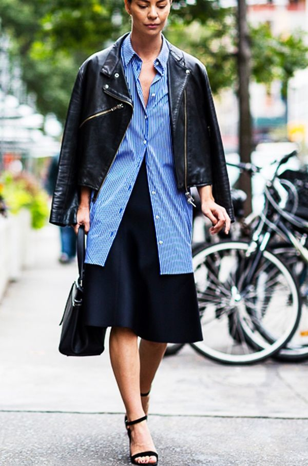 Style Notes: This styling trick works wonders with a midi skirt.