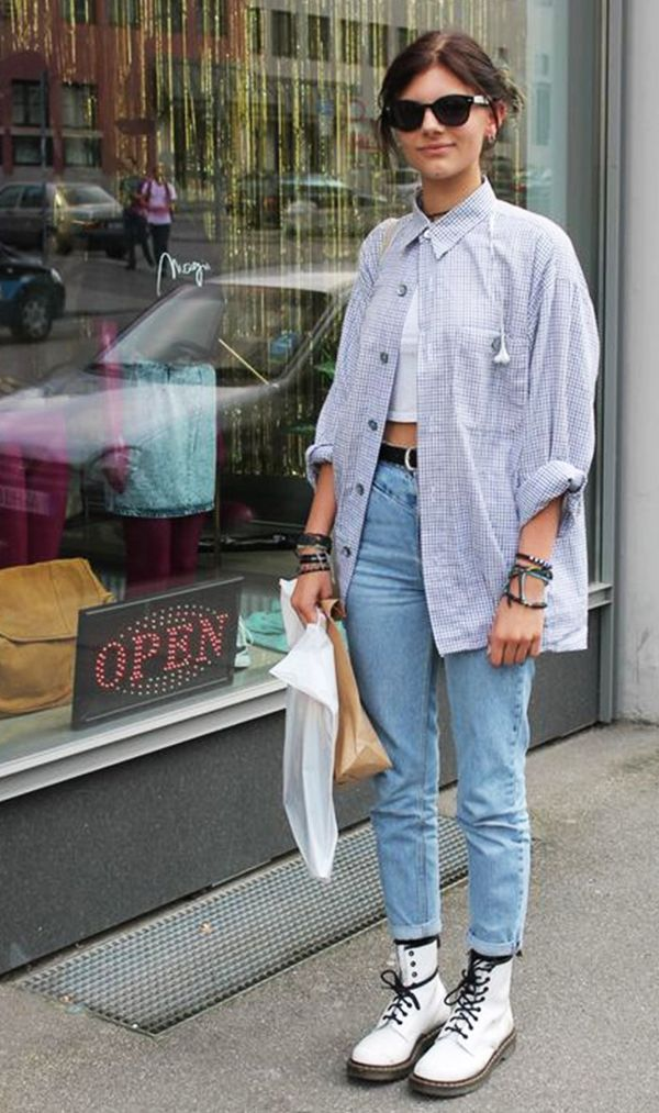 Style Notes: Layer a white tee underneath and style with jeans and Dr. Martens.