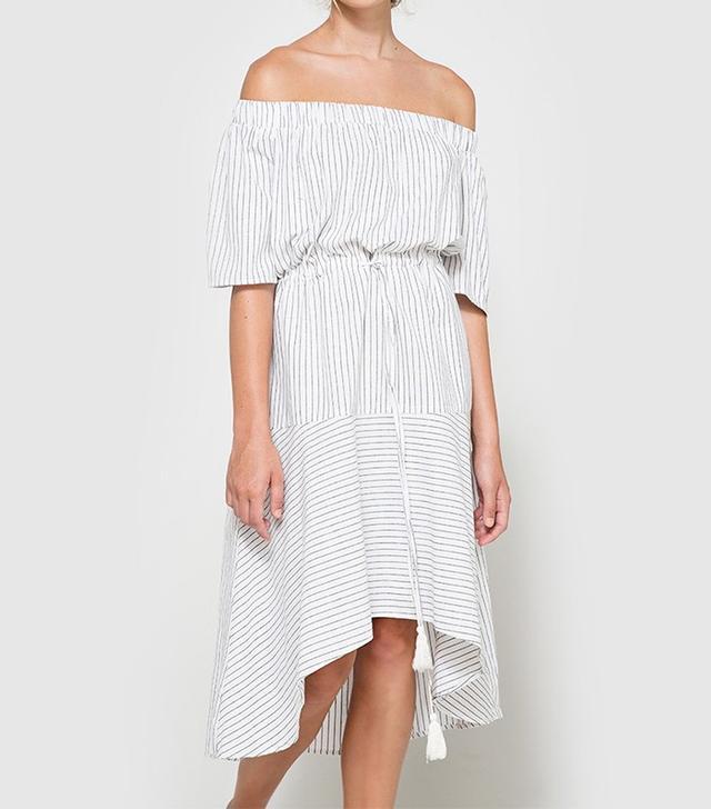 Farrow Striped Off Shoulder Dress