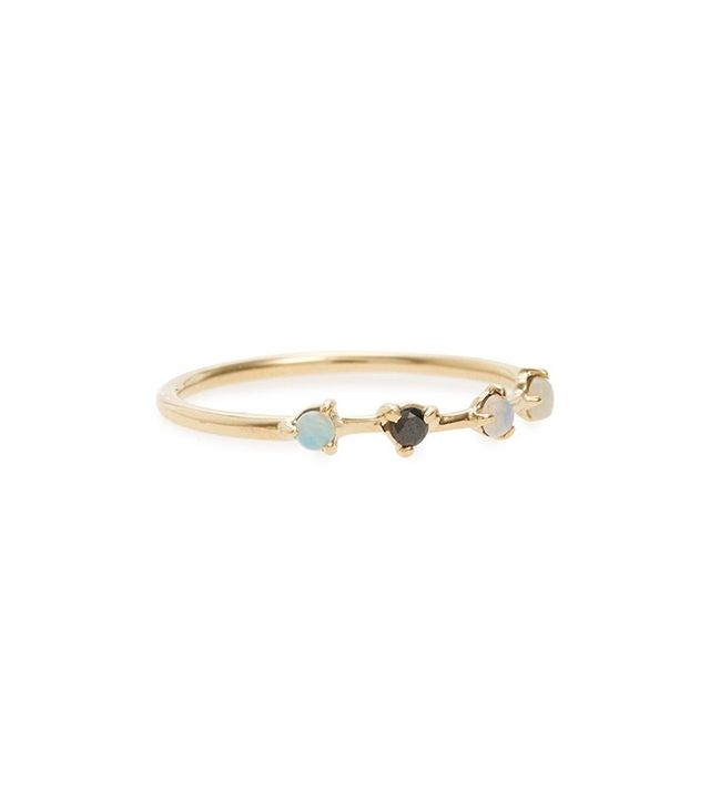 WWake Counting Collection Four Step Opal & Black Diamond Ring