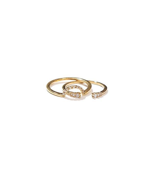 Adornmonde Crystal Ring Set