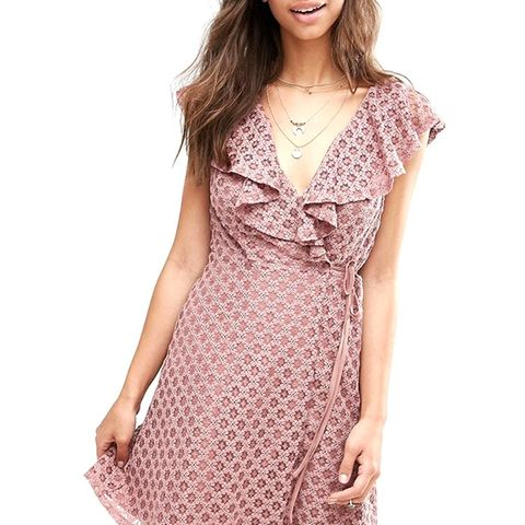 Ruffle Wrap Lace Dress