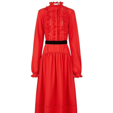 Red Crepe Ruffled Bib Dress