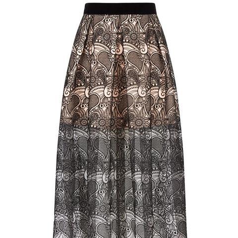 Black 3D Paisley Lace Midi Skirt