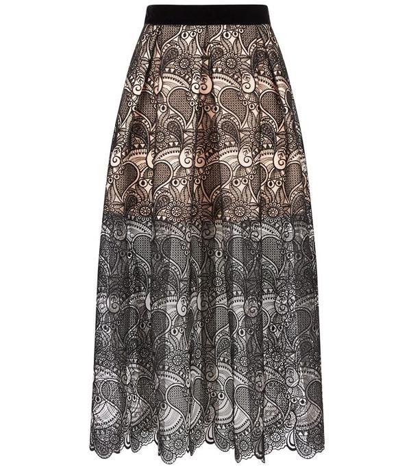 Perseverance London Black 3D Paisley Lace Midi Skirt