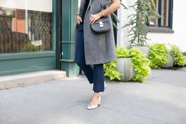 """My knee-jerk reaction was to style the flares with pointed heels to create the illusion of more ankle and longer legs. I'm happy to report, though, that after throwing on these block..."
