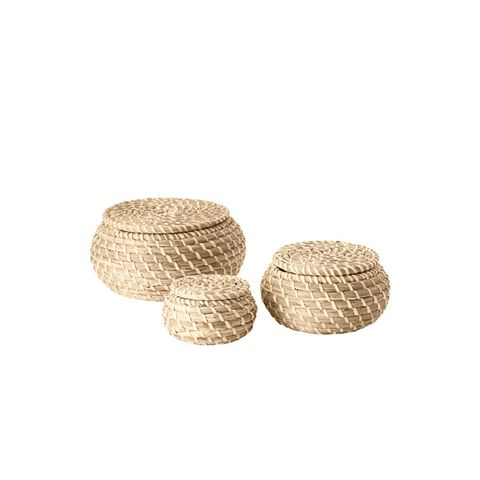 Fryken Seagrass Box with lid, Set of 3