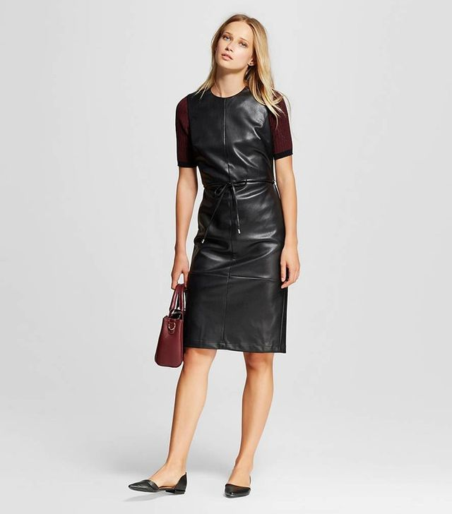 Who What Wear Faux Leather Dress