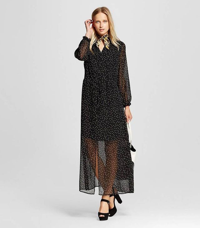 Who What Wear Ruffle-Neck Maxi Dress