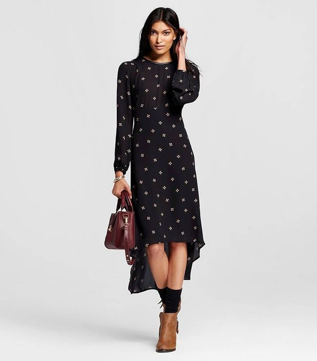 Who What Wear Long Sleeve Crepe Dress