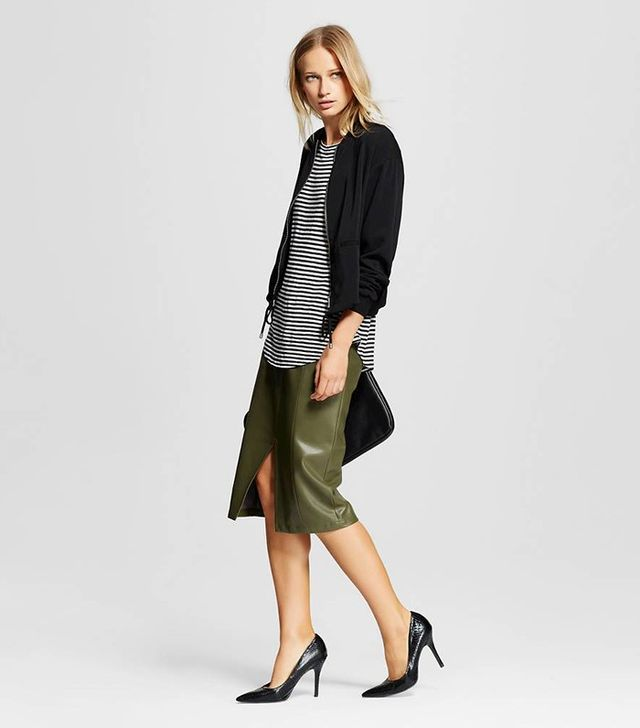 Who What Wear Faux-Leather Split Front Pencil Skirt