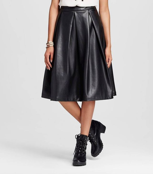 Who What Wear Faux Leather Birdcage Skirt