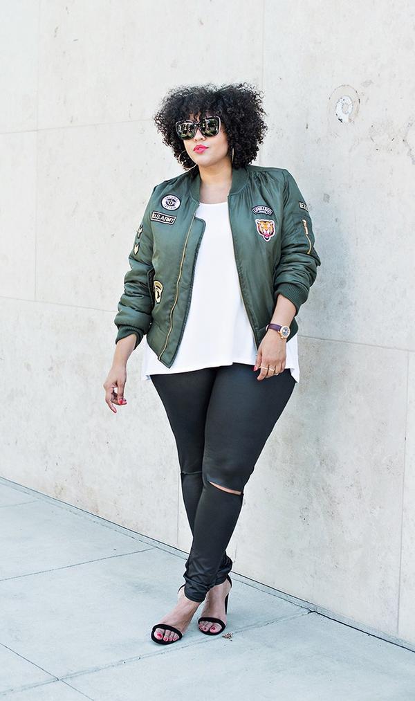 On Gabi Gregg: Boohoo Plus Tammy Badge MA1 Bomber Jacket($44); Boohoo Plus Betsy High Waist Wet Look Legging($20); Boohoo Plus Sloane Basic Oversized Tee($16); Boohoo Amy Block...