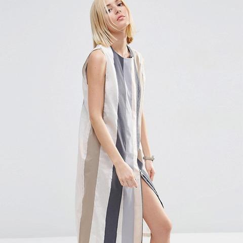 White Strip Detail Zip Midi Dress
