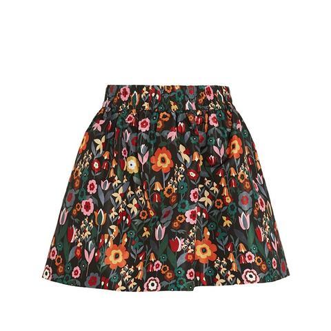 Floral-Print Taffeta Mini Skirt