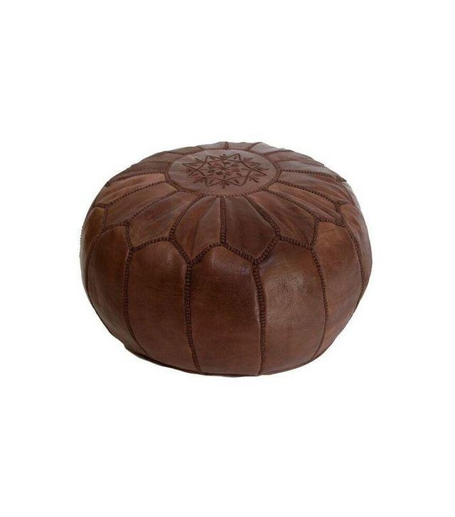Table Tonic Brown Moroccan Leather Pouf