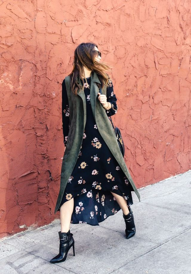 """Pictured: Who What Wear Long Sleeve Crepe Dress($33) """"I love a good feminine long-sleeve floral dress for fall. This one is not only comfortable, it's also easy to get around..."""