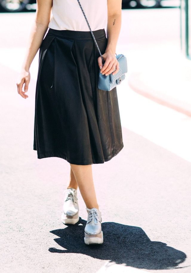 """Pictured: Who What WearFaux Leather Birdcage Skirt($33) """"A faux leather skirt always screams fall to me. It's the perfect transitional piece that's not too cool or..."""