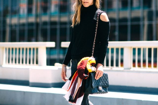 """Pictured: Who What Wear Oversize Wrap($20) """"Nothing is more cozy than an oversize scarf in fall hues,"""" explains Elizabeth. """"When the weather is still transitioning, I love..."""