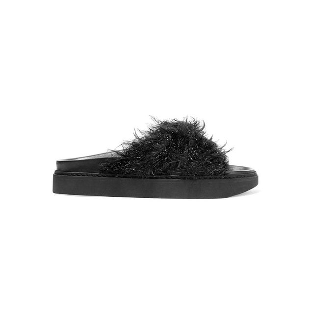 Simone Rocha Leather and Faux Fur Slides