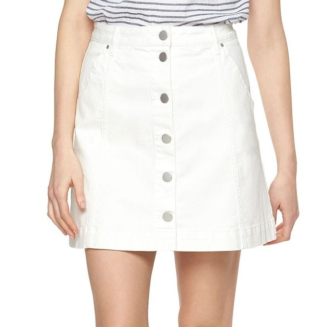LC Lauren Conrad Button-Front Jean Skirt