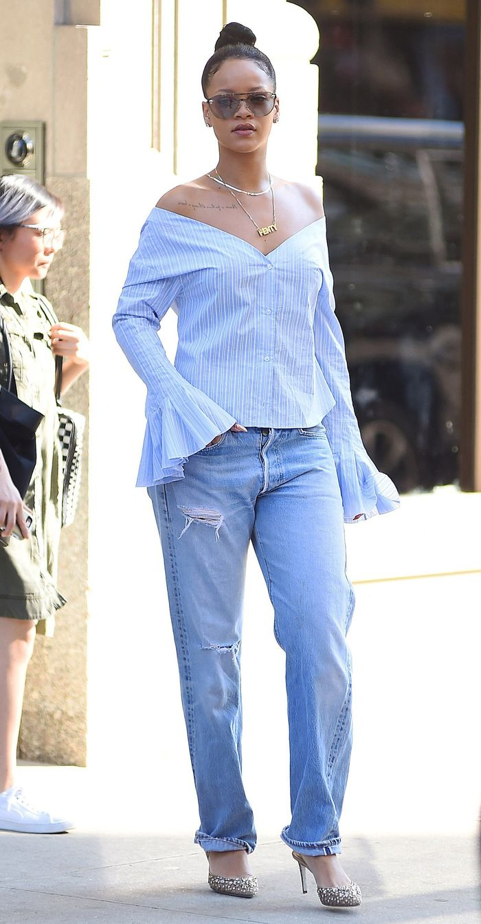 Rihanna Jacquemus Off-the-Shoulder Top