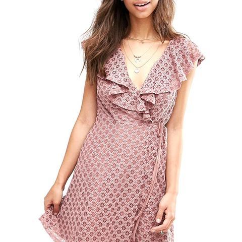 Ruffle Wrap Lace Dress