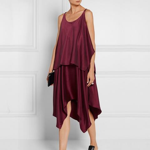 Greer Asymmetric Layered Brushed Silk-Satin Dress