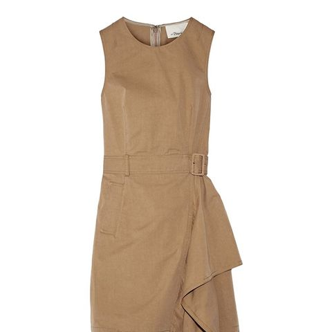 Belted Cotton-Twill Dress