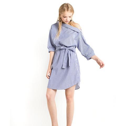 Button Side Striped Off-the-Shoulder Dress