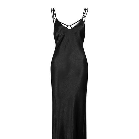 Two Strap Satin Midi Dress