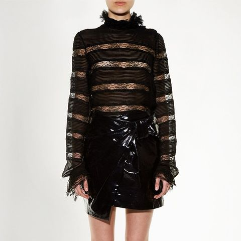 Anders Faux-Patent Leather Miniskirt