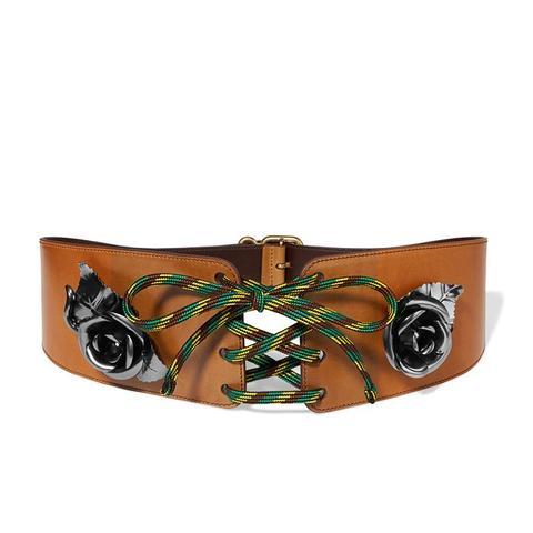 Embellished Leather Lace-Up Belt