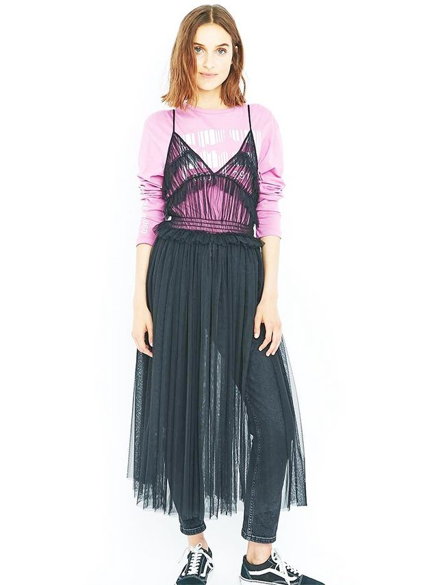 Sparkle & Fade Black Mesh Layering Midi Dress