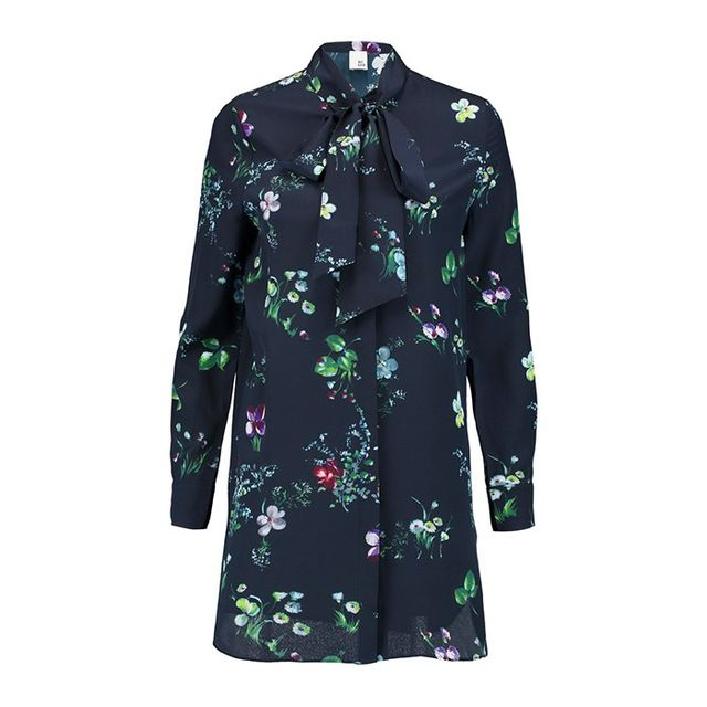 Iris & Ink Claudia Floral-Print Pussy-Bow Silk-Georgette Blouse