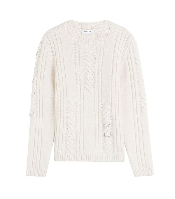 Mugler Cable Knit Pullover with Piercing