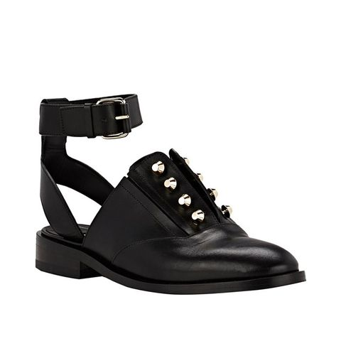 Pierced Ankle-Strap Oxfords