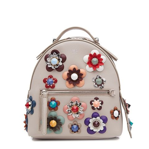 Leather Backpack With Embellished Flower Appliques