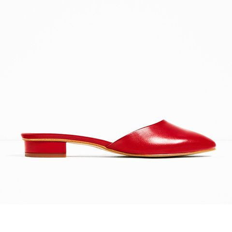 Leather Backless Low Heel Shoes