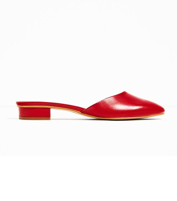 Zara Leather Backless Low Heel Shoes