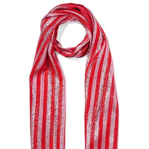 Striped Silk-Blend Lamé Scarf
