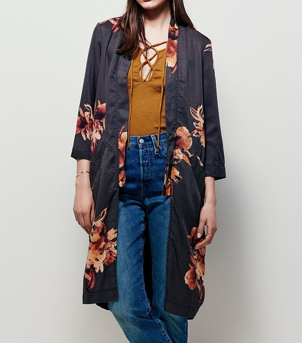Free People Printed Slim Kimono