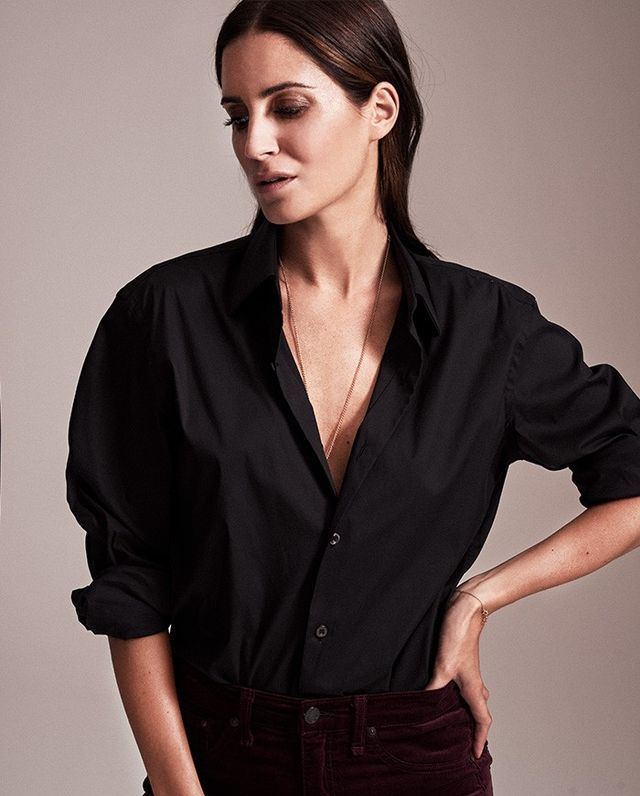 Gonzalez styles velvet with a more classic piece, balancing her outfit and keeping it from being overly trendy.