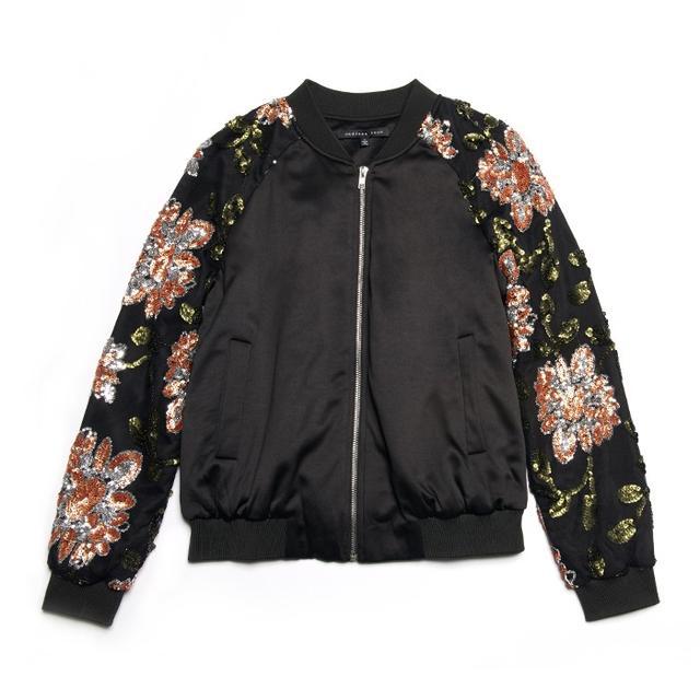 Endless Rose Floral Sequin Bomber Jacket